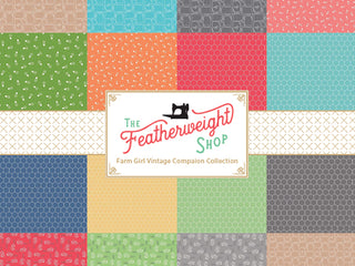 Load image into Gallery viewer, Fabric, Farm Girl Vintage Companion Prints by Lori Holt - HONEYCOMB STEEL (by the yard)