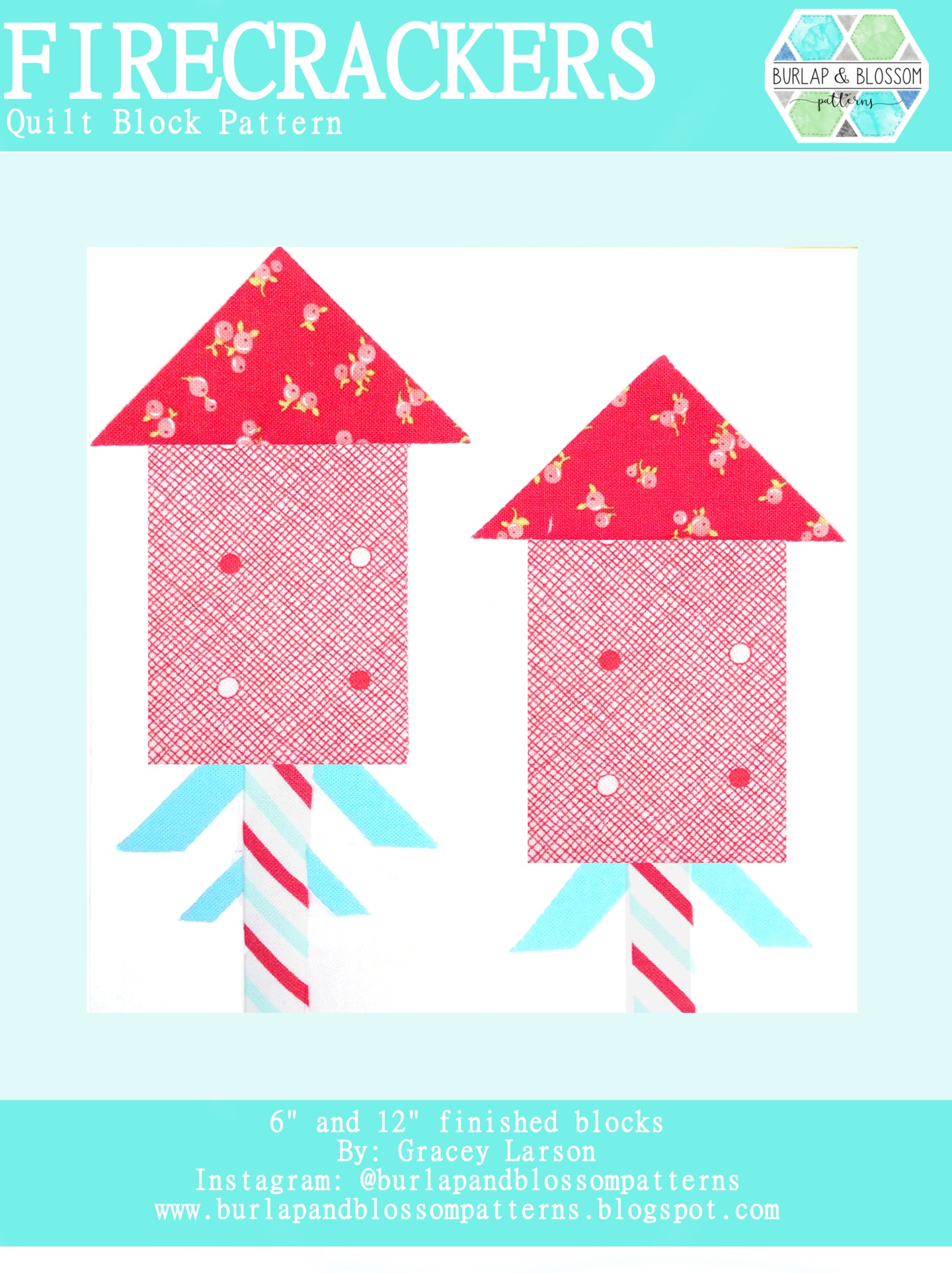 Pattern, Firecrackers Quilt Block by Burlap and Blossom (digital download)