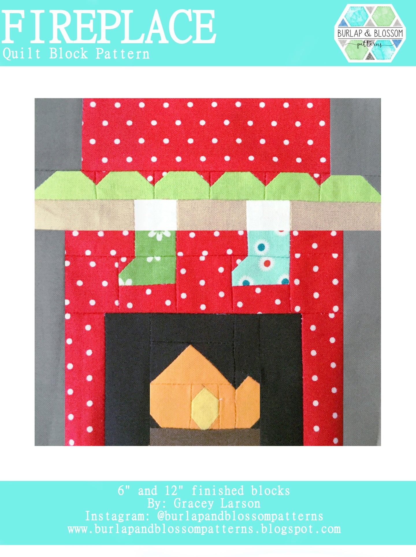 Pattern, Fireplace Quilt Block by Burlap and Blossom (digital download)
