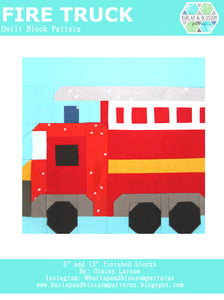 Pattern, Fire Truck Quilt Block by Burlap and Blossom (digital download)