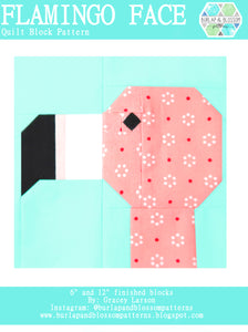 Pattern, Flamingo Quilt Block by Burlap and Blossom (digital download)