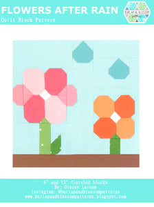 Pattern, Flowers After Rain Quilt Block by Burlap and Blossom (digital download)