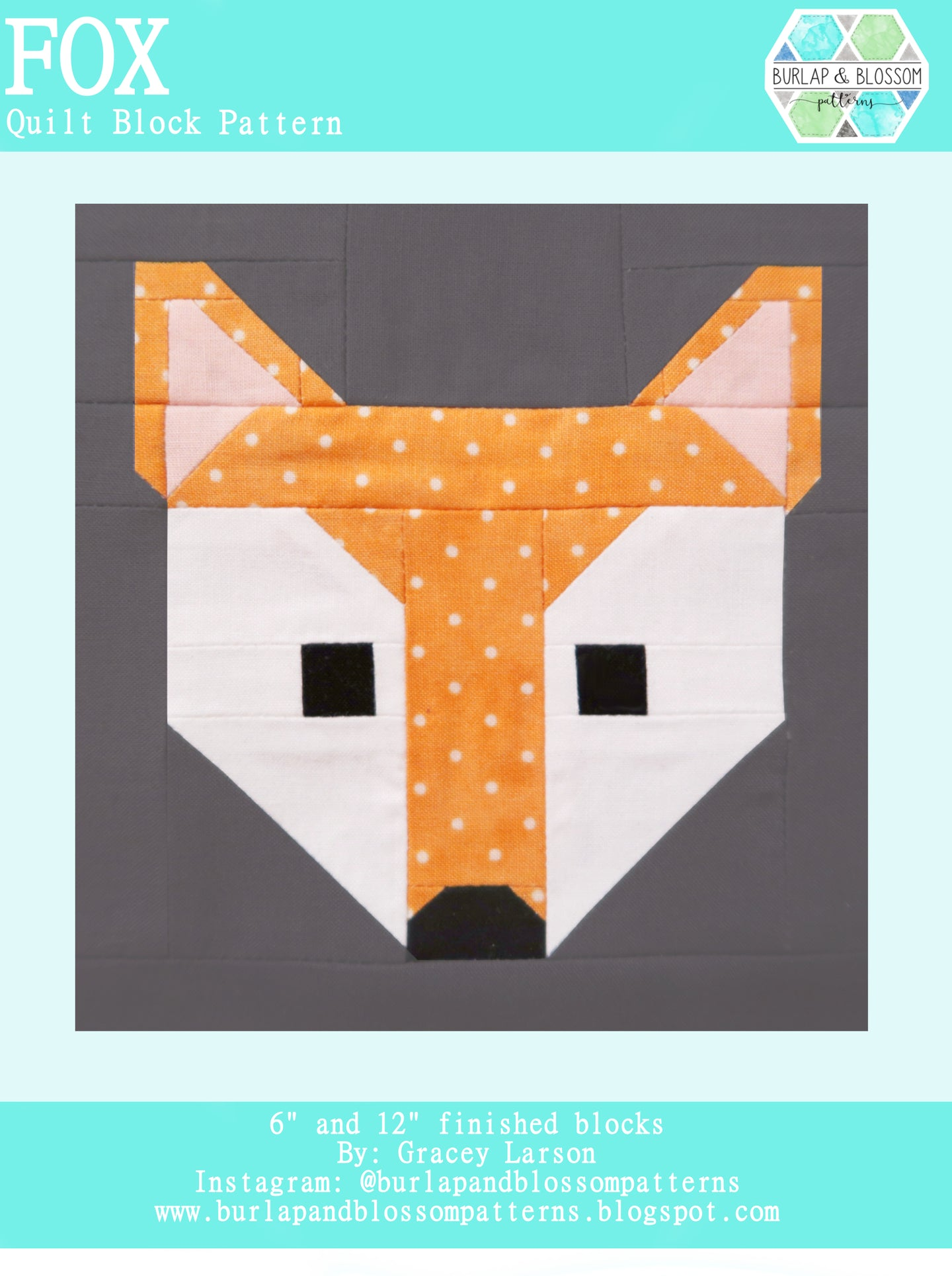 Pattern, Fox Quilt Block by Burlap and Blossom (digital download)