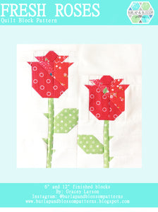 Pattern, Fresh Roses Quilt Block by Burlap and Blossom (digital download)