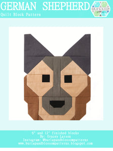 Pattern, German Shepherd Dog Quilt Block by Burlap and Blossom (digital download)