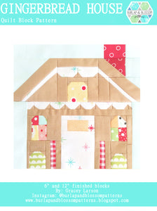 Pattern, Gingerbread House Quilt Block by Burlap and Blossom (digital download)