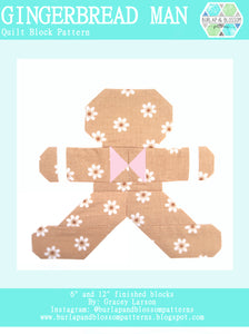 Pattern, Gingerbread Man Quilt Block by Burlap and Blossom (digital download)