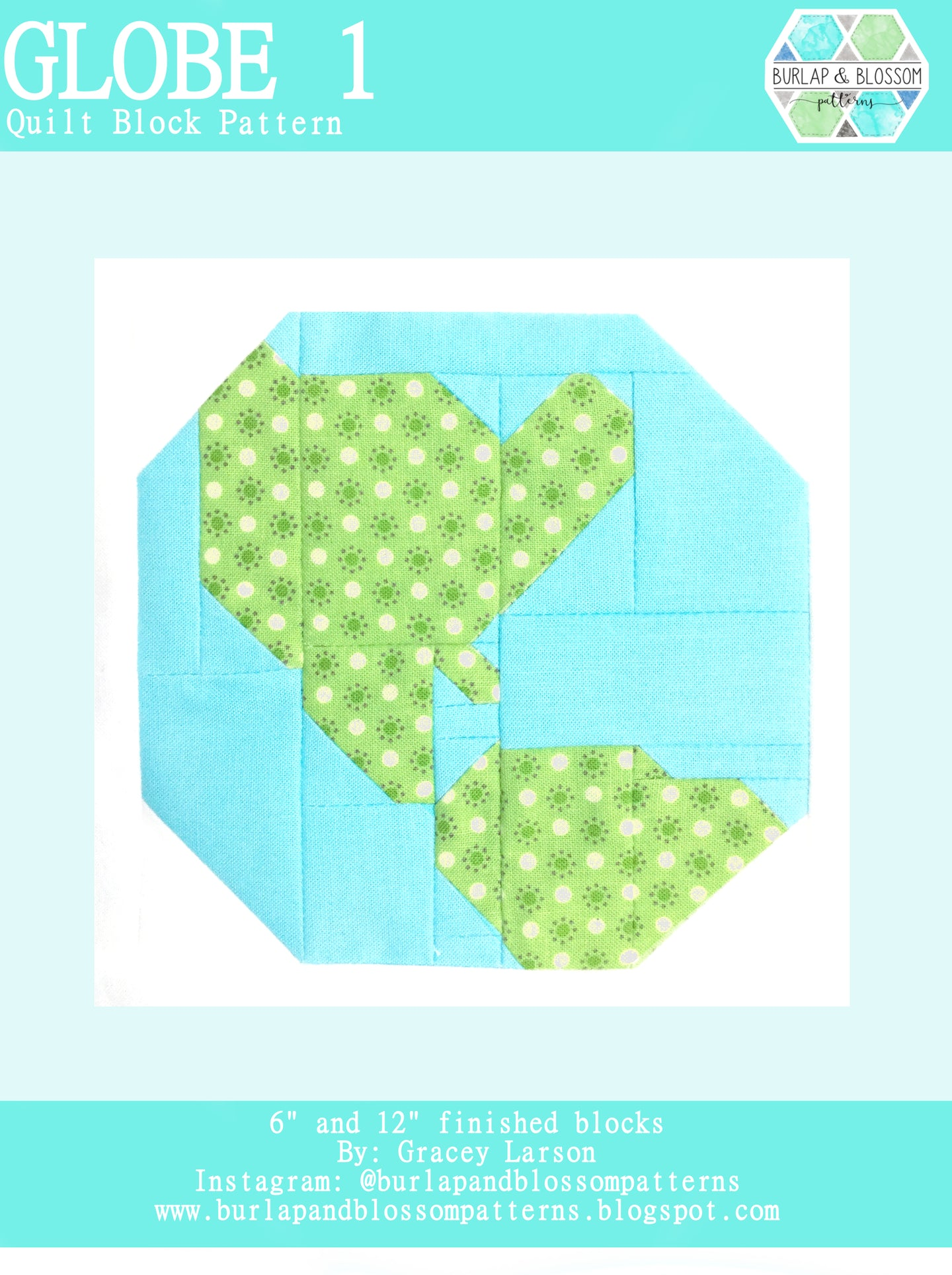 Pattern, Globe 1 Quilt Block by Burlap and Blossom (digital download)