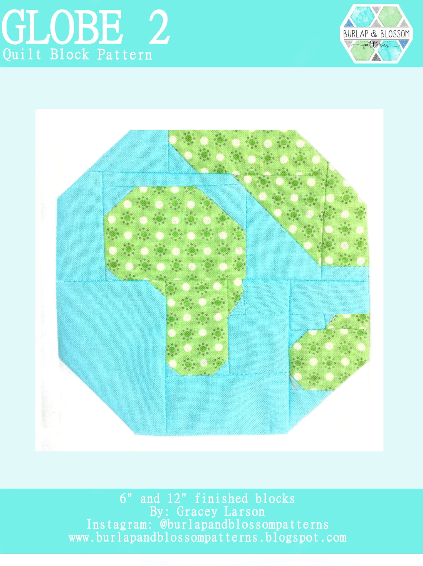 Pattern, Globe 2 Quilt Block by Burlap and Blossom (digital download)