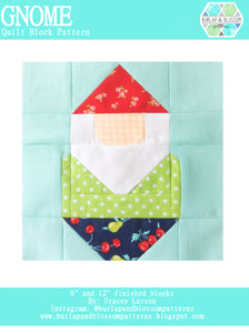 Pattern, Gnome Quilt Block by Burlap and Blossom (digital download)