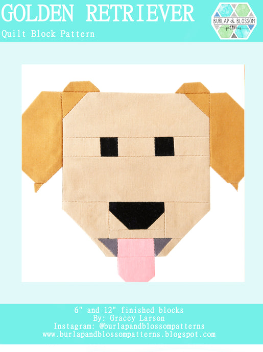 Pattern, Golden Retriever Dog Quilt Block by Burlap and Blossom (digital download)