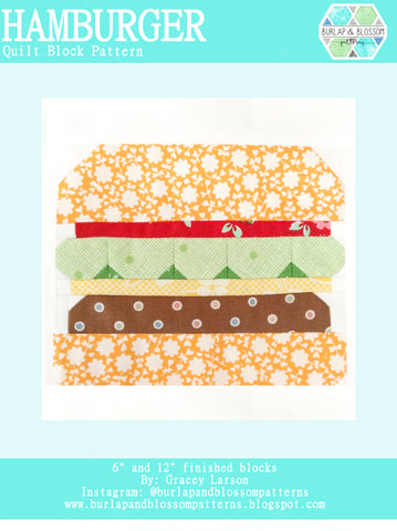 Pattern, Hamburger Quilt Block by Burlap and Blossom (digital download)