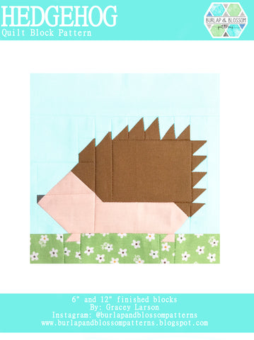 Pattern, Hedgehog Quilt Block by Burlap and Blossom (digital download)