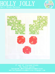 Pattern, Holly Jolly Quilt Block by Burlap and Blossom (digital download)