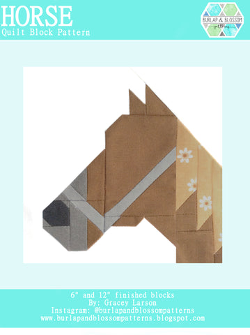 Pattern, Horse Quilt Block by Burlap and Blossom (digital download)