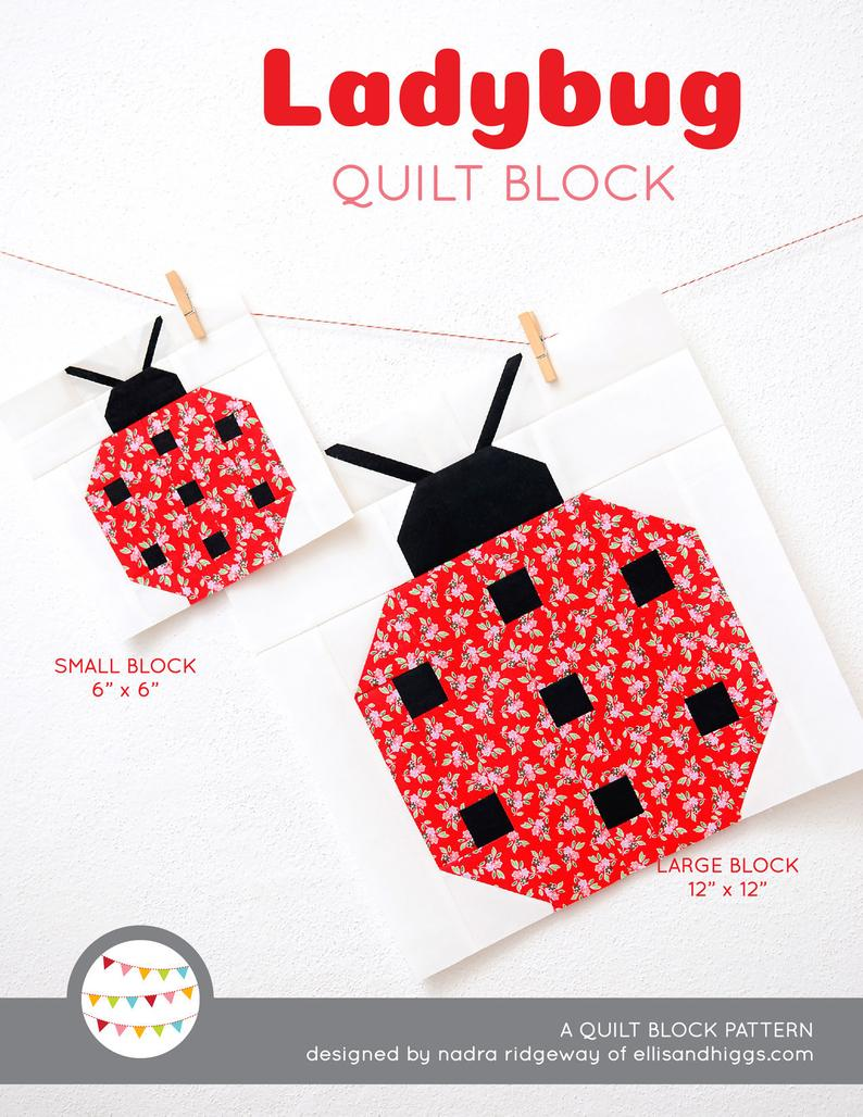 Pattern, Ladybug Quilt Block by Ellis & Higgs (digital download)