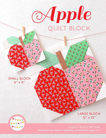 Pattern, Apple Quilt Block by Ellis & Higgs (digital download)