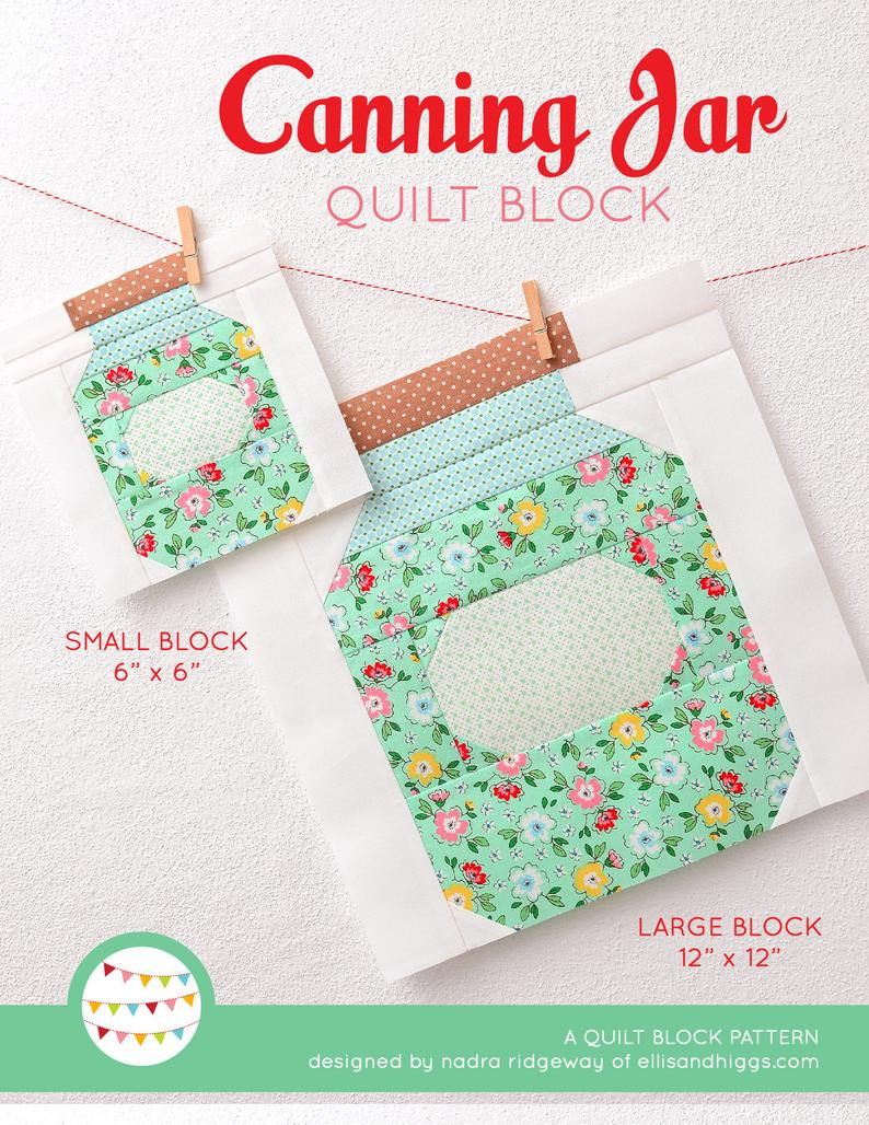 Pattern, Canning Jar Quilt Block by Ellis & Higgs (digital download)