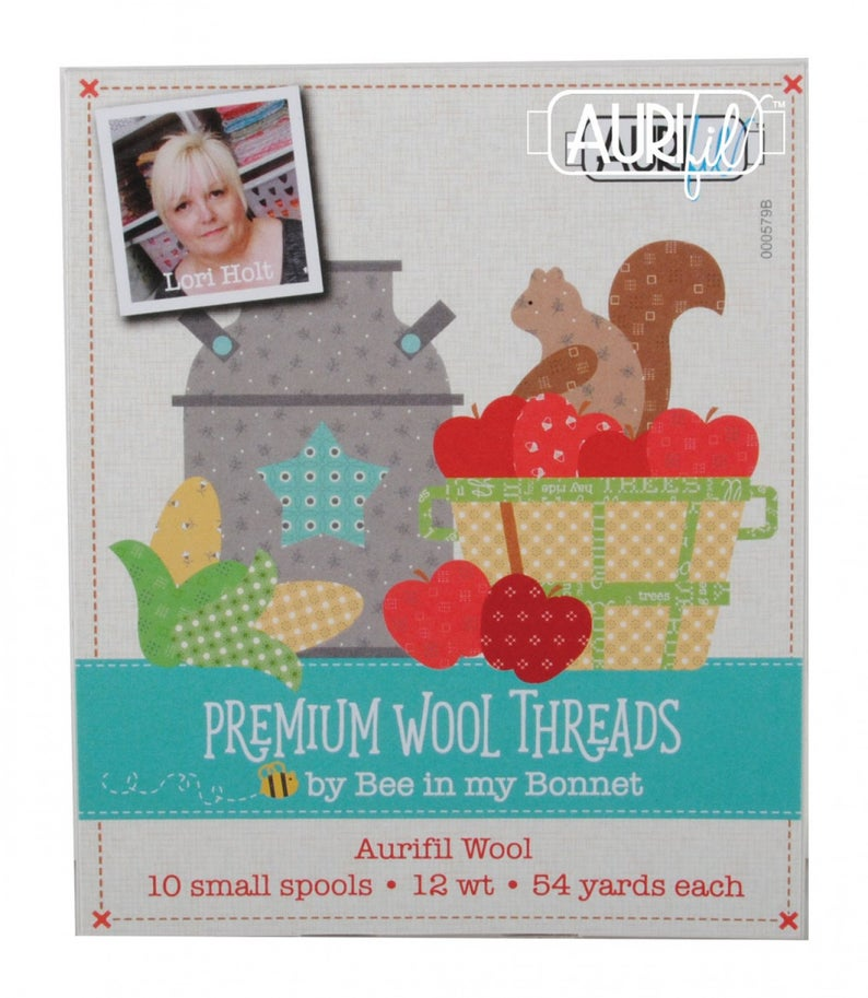 Aurifil Thread 12wt, 10 Color SET - Lori Holt PREMIUM WOOL THREADS