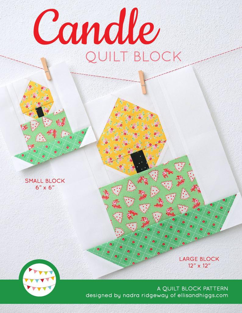 Pattern, Candle Quilt Block by Ellis & Higgs (digital download)