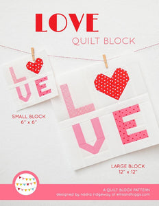 Pattern, LOVE Valentine Quilt Block by Ellis & Higgs (digital download)