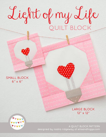 Pattern, Light of My Life Valentine Quilt Block by Ellis & Higgs (digital download)