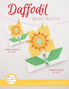 Pattern, Daffodil Flower Quilt Block by Ellis & Higgs (digital download)