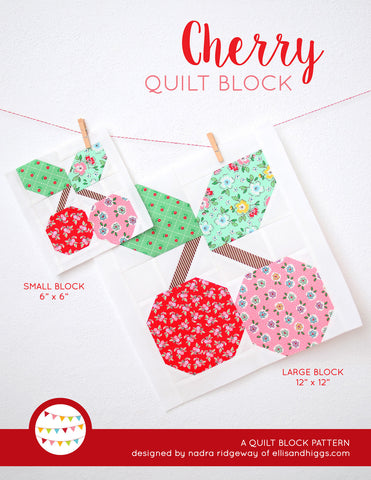 Pattern, Cherry Quilt Block by Ellis & Higgs (digital download)