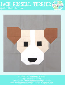 Pattern, Jack Russell Terrier Dog Quilt Block by Burlap and Blossom (digital download)