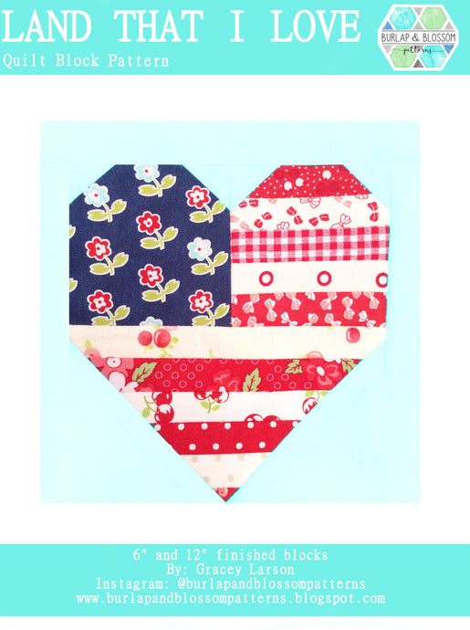 Pattern, Land that I Love Quilt Block by Burlap and Blossom (digital download)