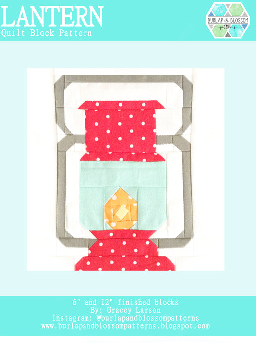 Pattern, Lantern Quilt Block by Burlap and Blossom (digital download)