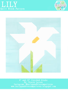 Pattern, Lily Quilt Block by Burlap and Blossom (digital download)