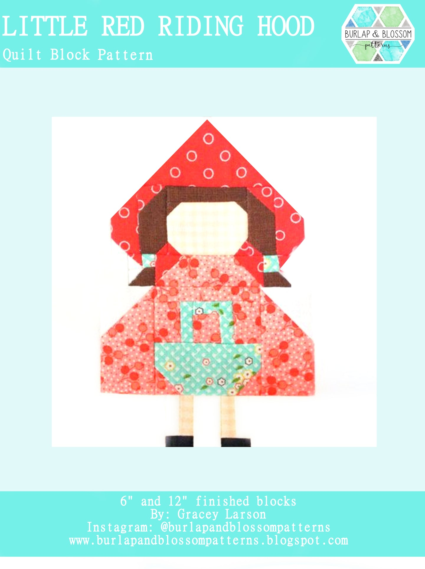 Pattern, Little Red Riding Hood Quilt Block by Burlap and Blossom (digital download)