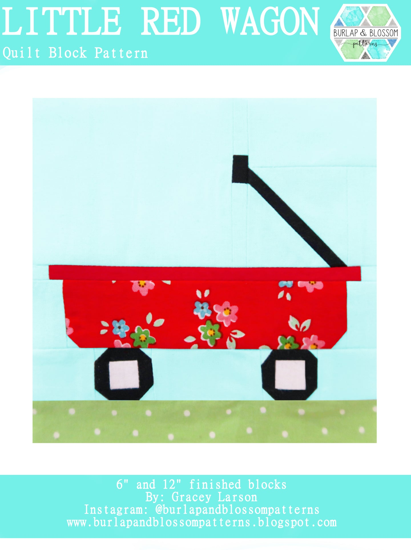 Pattern, Little Red Wagon Quilt Block by Burlap and Blossom (digital download)
