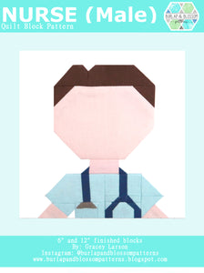 Pattern, Male Doctor Nurse Block by Burlap and Blossom (digital download)