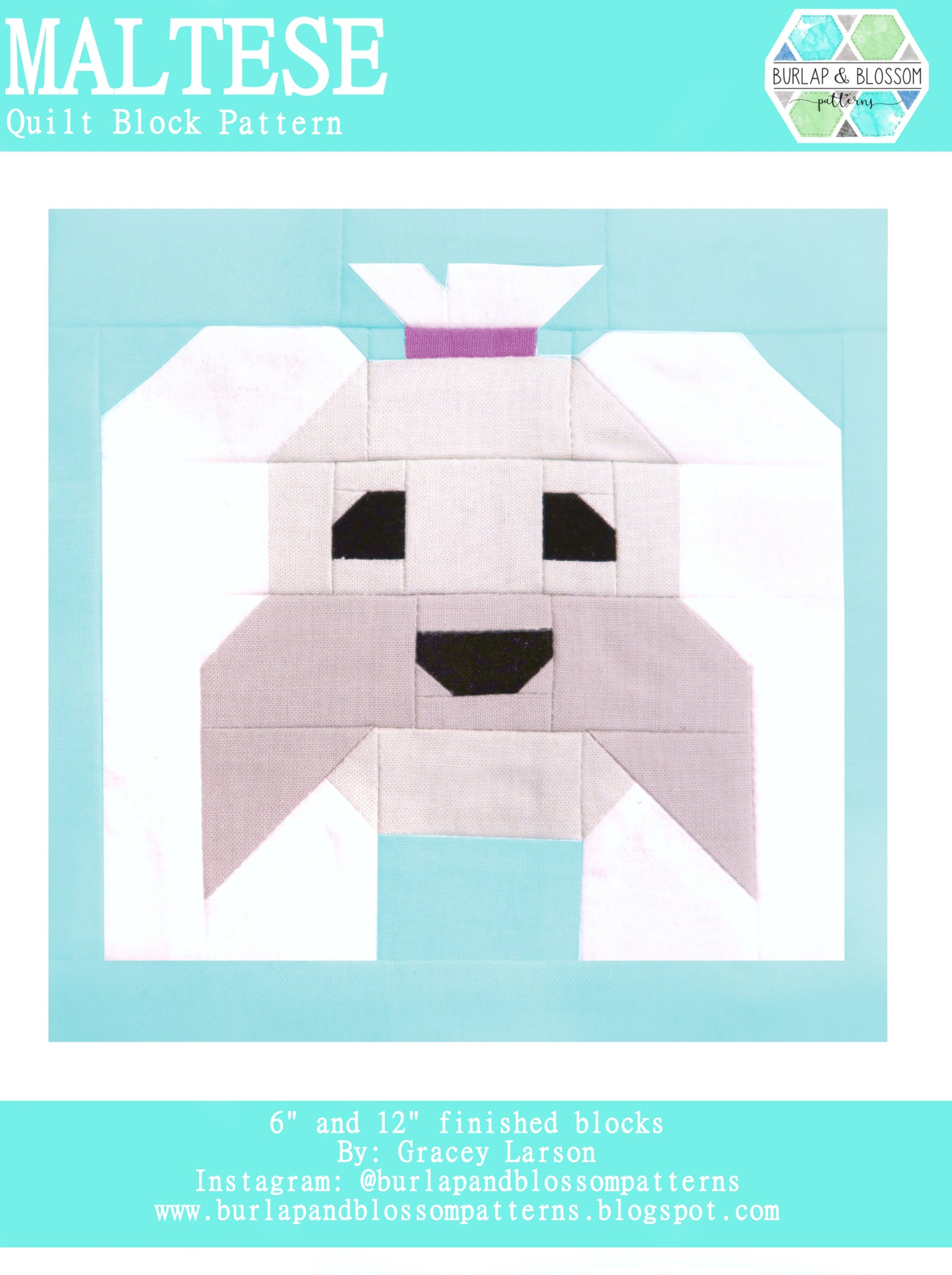 Pattern, Maltese Dog Quilt Block by Burlap and Blossom (digital download)