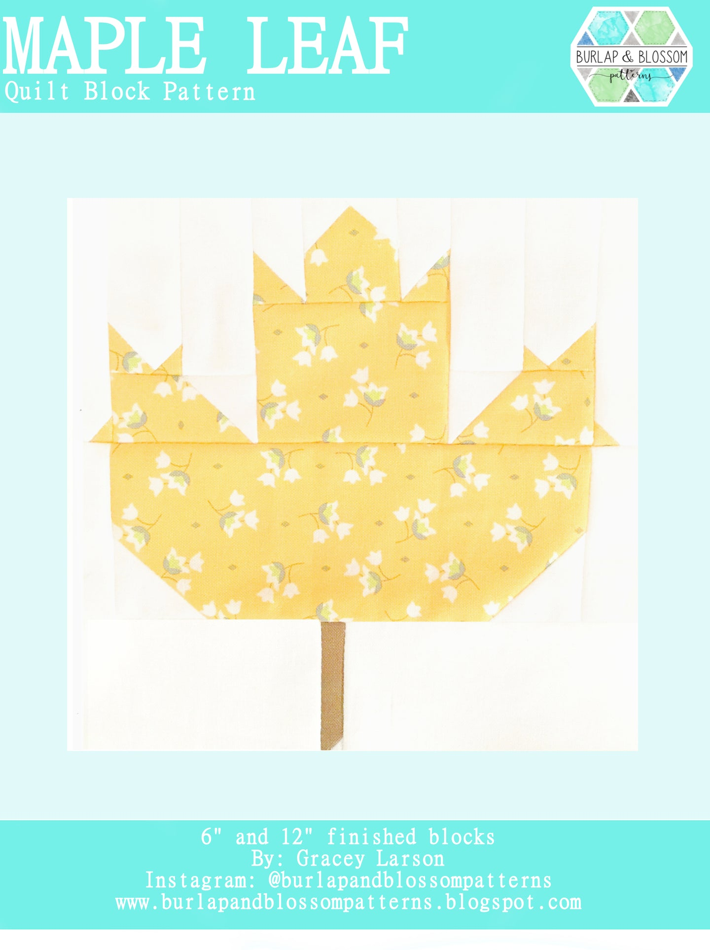 Pattern, Maple Leaf Quilt Block by Burlap and Blossom (digital download)