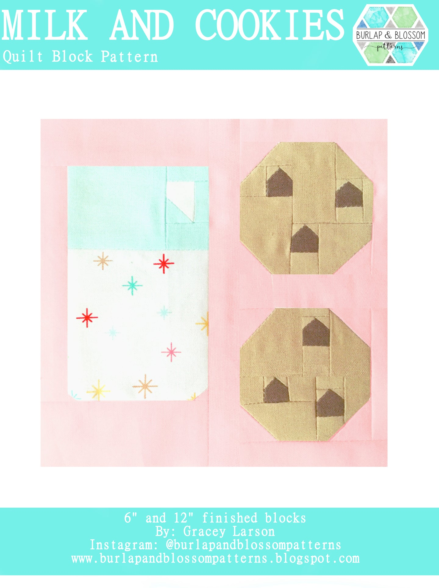 Pattern, Milk and Cookies Quilt Block by Burlap and Blossom (digital download)
