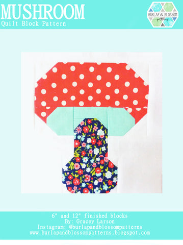 Pattern, Toadstool Quilt Block by Burlap and Blossom (digital download)