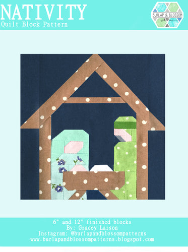 Pattern, Nativity Quilt Block by Burlap and Blossom (digital download)