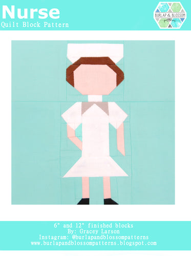 Pattern, Nurse Quilt Block by Burlap and Blossom (digital download)