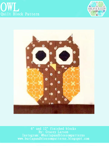 Pattern, Owl Quilt Block by Burlap and Blossom (digital download)