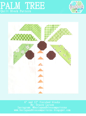 Pattern, Palm Tree Quilt Block by Burlap and Blossom (digital download)