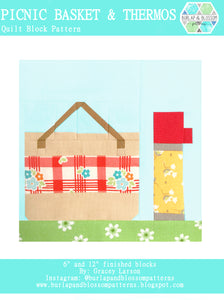 Pattern, Picnic Basket and Thermos Quilt Block by Burlap and Blossom (digital download)