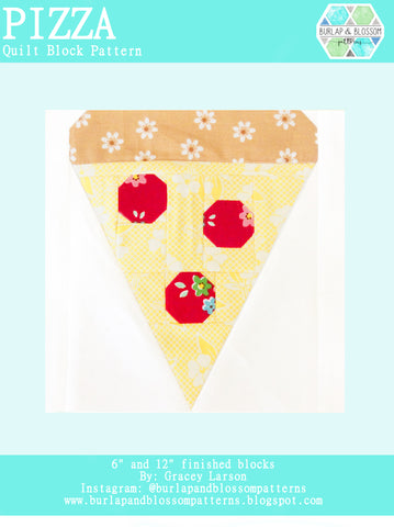 Pattern, Pizza Quilt Block by Burlap and Blossom (digital download)