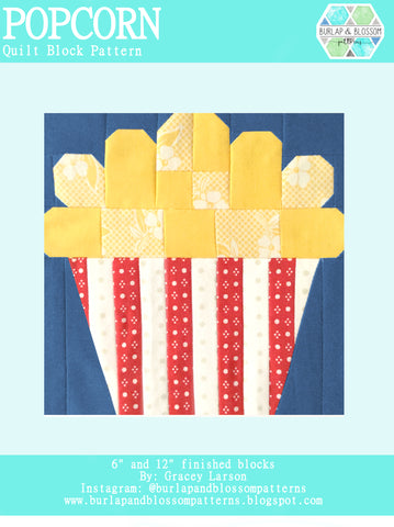 Pattern, Popcorn Quilt Block by Burlap and Blossom (digital download)