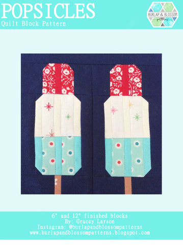 Pattern, Popsicles Quilt Block by Burlap and Blossom (digital download)