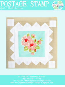 Pattern, Postage Stamp Quilt Block by Burlap and Blossom (digital download)
