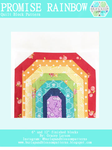 Pattern, Promise Rainbow Quilt Block by Burlap and Blossom (digital download)