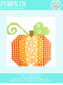 Pattern, Pumpkin Quilt Block by Burlap and Blossom (digital download)